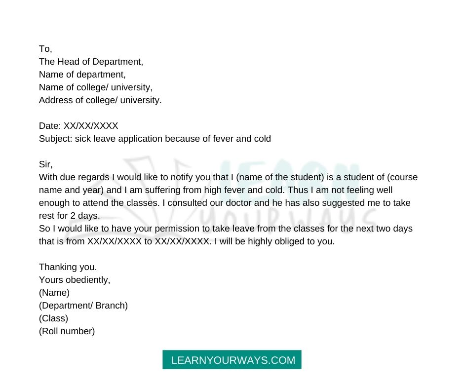 How To Write sick leave application of fever and cold
