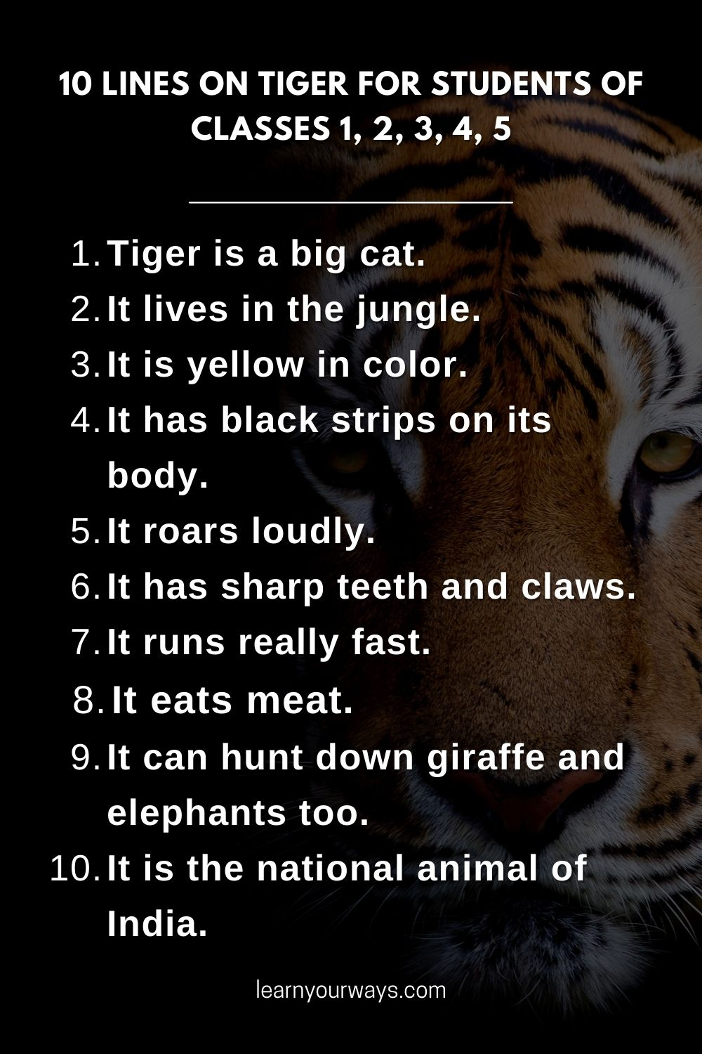 10 lines essay on Tiger for students